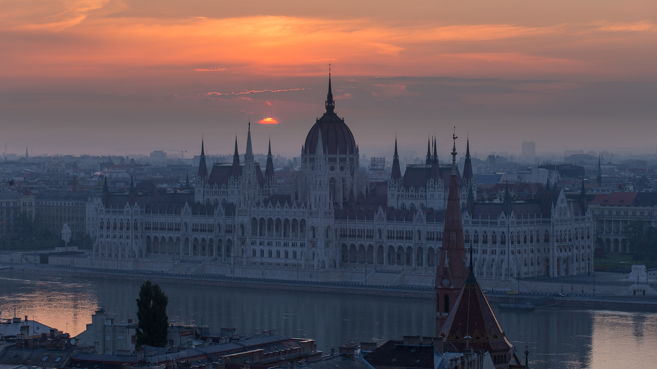 Sunrise behind Parliament