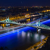 Blue Lighttrails under Liberty Bridge Budapest
