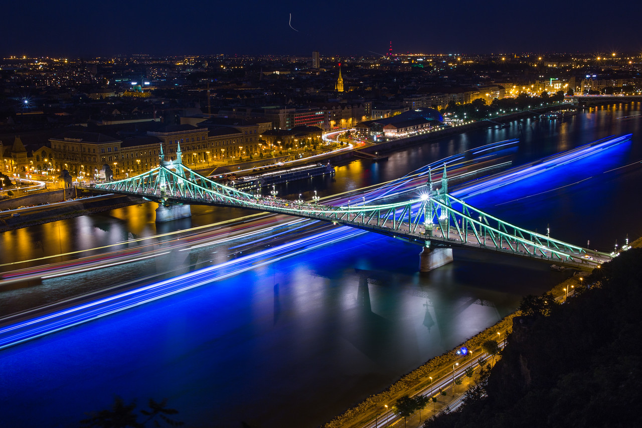 Blue Lighttrails under Liberty Bridge Budapest