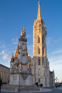 St Mathias church and Holy Trinity statue at Buda Castle