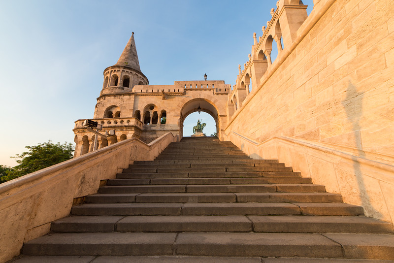 Stairs, arch and statue of St Stephens in Fishermens Bastion
