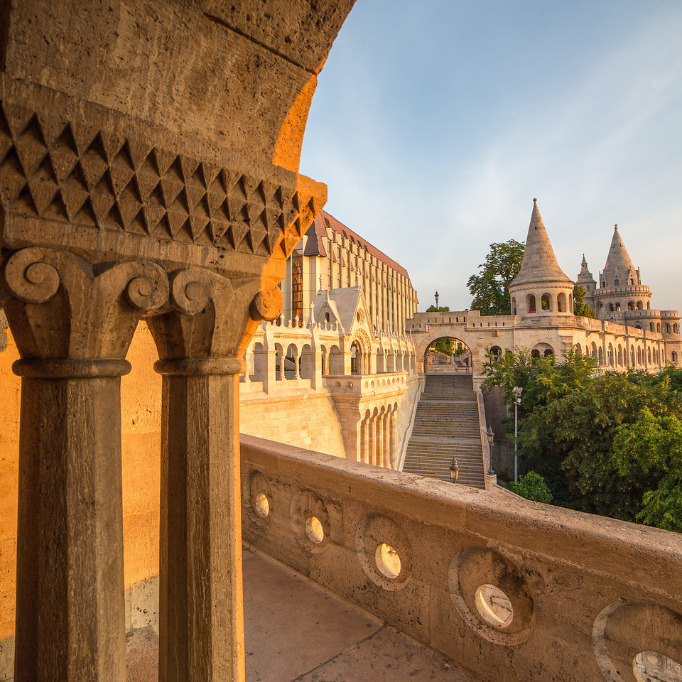 Fishermen Bastion framed by arches wide-angle