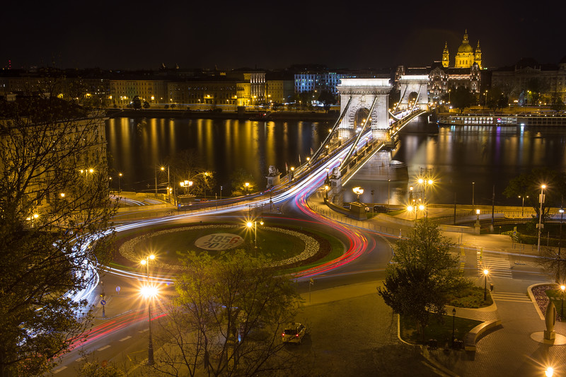 Chain Bridge and St Stephens Basilica from the funicular in Budapest