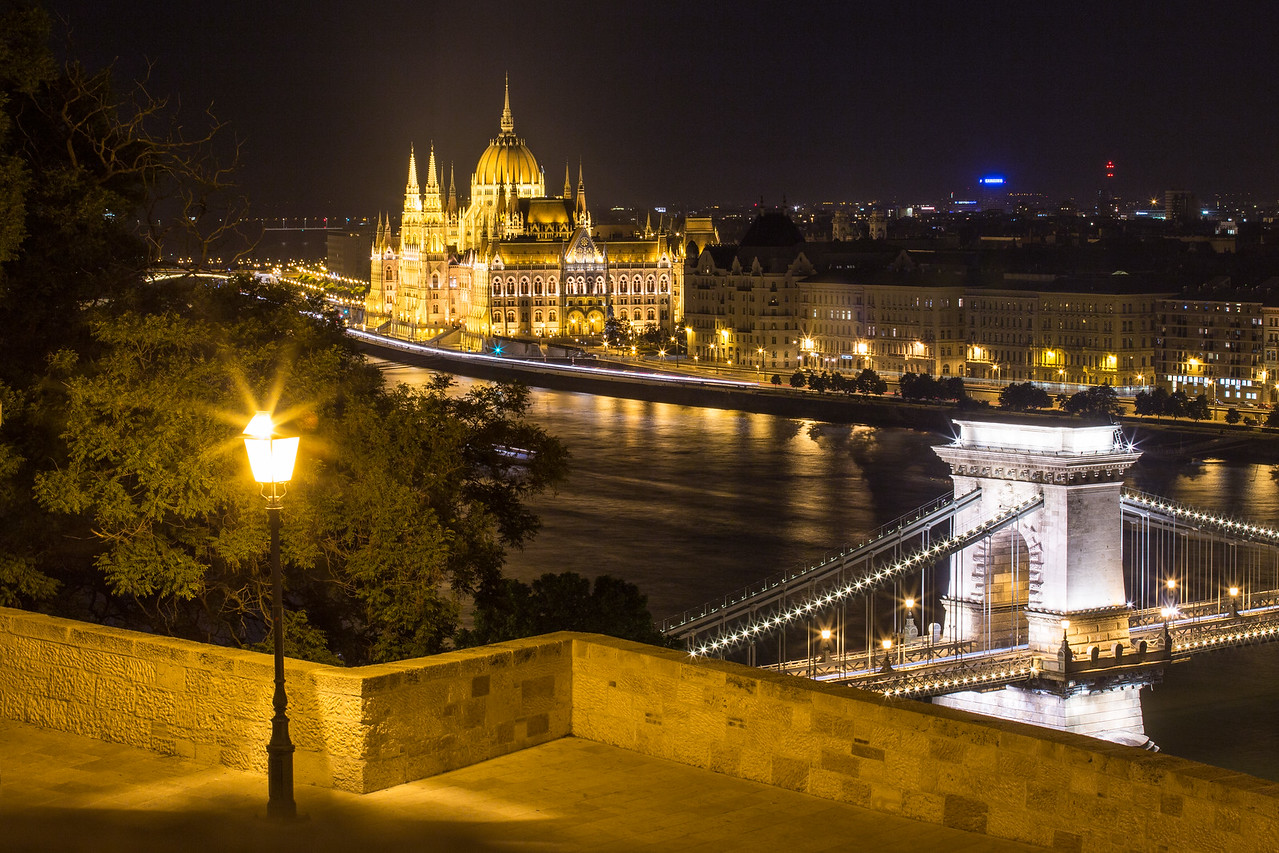 Triangle of Parliament Chain Bridge and a lamppost from Buda Castle