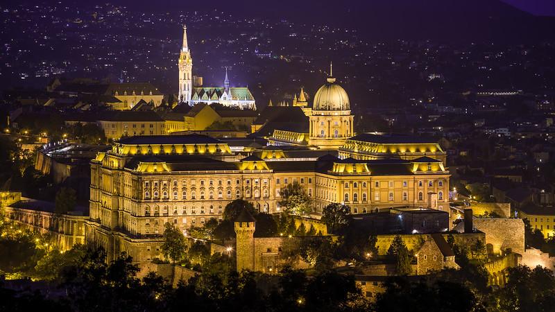 Mathias Church and Buda Castle at night