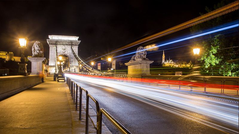 Chain Bridge fishermens bastion lighttrails stack