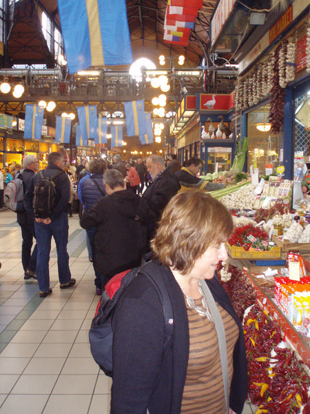 Just down the road from our hotel was a large covered market.  On the main floor were booths selling mushrooms, sausages, produce and sweets, and upstairs were souvenirs and food stalls - we had goulash, langos (a type of pizza), and homemade beer.