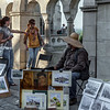 Street artist, tourists, Castle Hill, Budapest, Hungary