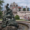 Fishing Children Fountain, (Karoly Senyey, 1912) and Hapsburg Steps, Budapest, Hungary
