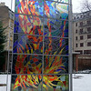 A stained glass window at the Holocaust memorial at the Dohany street Synagogue in Budapest, Hungary in January 2014.
