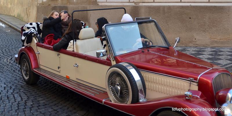 Beautiful car in Prague, Czech Republic in February 2014