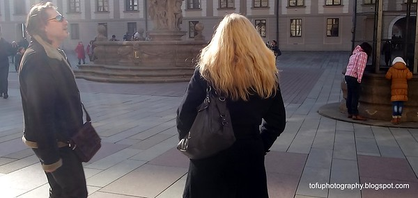 Woman with blonde hair in Prague, Czech Republic in February 2014