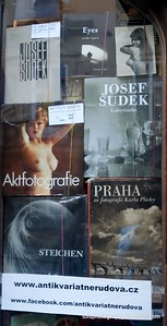 Books for sale in a shop window in Prague, Czech Republic in February 2014