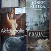 Books for sale in a shop window in Prague, Czech Republic in February 2014