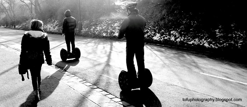 Tourists on segways in Prague, Czech Republic in February 2014