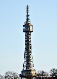 A telecommunications tower in Prague, Czech Republic, in February 2014