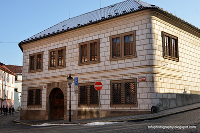 Corner building in Prague, Czech Republic in February 2014