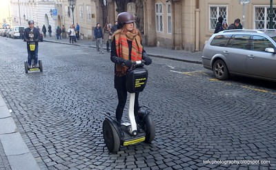Woman on a segway in Prague, Czech Republic in February 2014