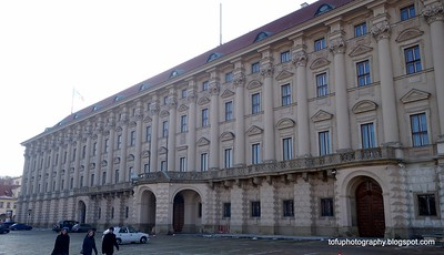 A beautiful classical building in Prague, Czech Republic in February 2014