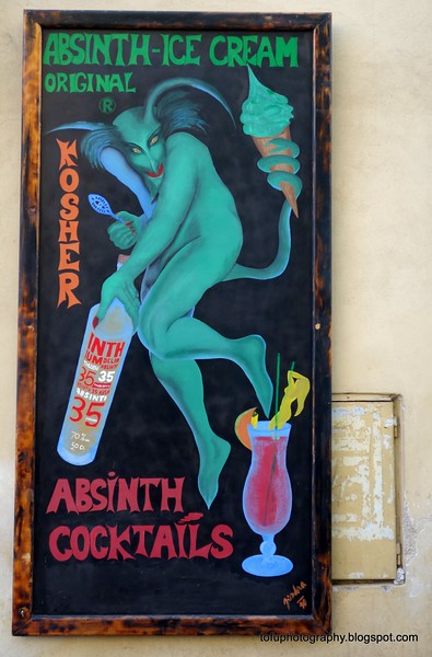 Poster for Absinth cocktails in Prague, Czech Republic in February 2014