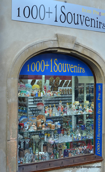 Souvenir shop in Prague, Czech Republic, in February 2014