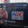 Advert for Reebok and the Czech Ice Hockey Team on the side of a van in Prague, Czech Republic in February 2014