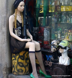 A female mannequin outside a shop in Prague, Czech Republic in February 2014
