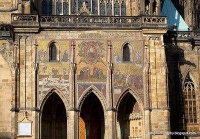 Part of St Vitus Cathedral in Prague, Czech Republic in February 2014