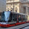 A tram in Narodni street in Prague, Czech Republic, in February 2014