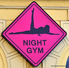 Night gym sign for an strip club in Prague, Czech Republic in February 2014