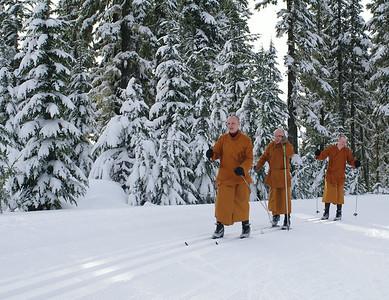 Skiing Monks