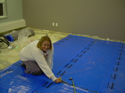 Lori putting in the underlay