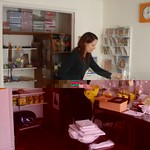 Dakini tidying up the Center shop