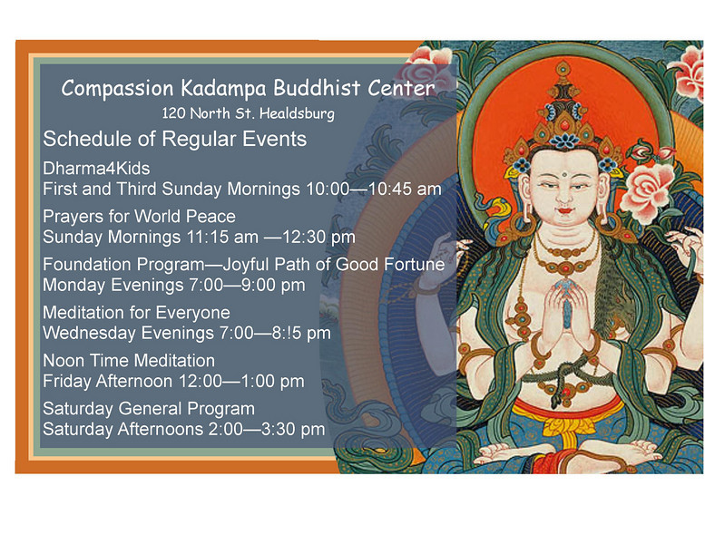 The Center sign in the window announces all of our classes. Everyone Welcome!