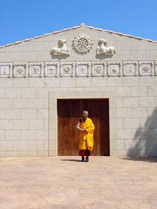 Venerable Geshe-la in front of the Menorca temple.