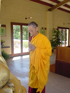 Venerable Geshe-la in the Menorca temple.