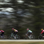 Photo by Eric Brady     Shot on 2/2/03<br /> A group of riders travels North on the Blue Ridge Parkway Sunday in Roanoke County. The riders were part of a group of over 30 local riders who meet for rides organized through E-mail.
