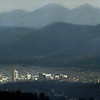 The Blue Ridge Moutains rise in the distance as cold weather settles over the Roanoke valley.