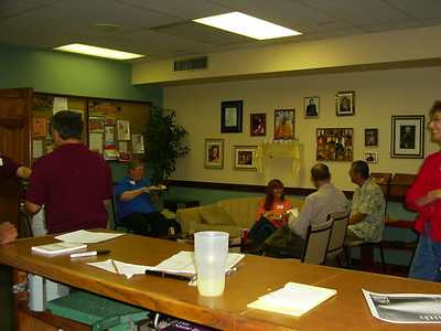 After every class, the discussions continue in our community room.