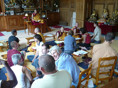 In the temple, during a teaching at KMC France