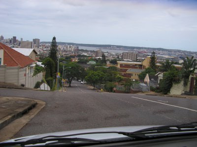 Durban streets and harbour in the background