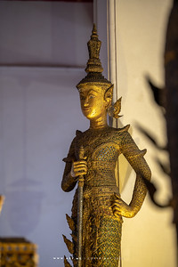 Lord Dhatarattha the guardian of the East, one of the Four Heavenly Kings, Minor Vihara, Wat Arun