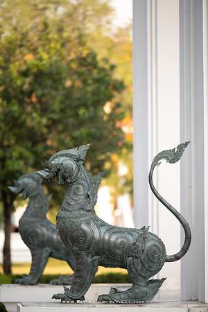 Rajasiha (Mythical Lion-King) at the front of Phra Vihara, Wat Benchamabophit