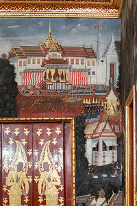 Mural Painting at Song Phanuat Throne Hall, Wat Benchamabophit
