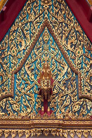 Brahma on Swan, North Pediment of Phra Ubosot, Wat Hong Rattanaram