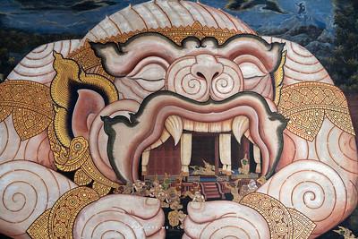 Hanuman, Ramayana Mural Painting, Wat Phra Sri Rattana Satsadaram (Wat Phra Kaew), Grand Palace