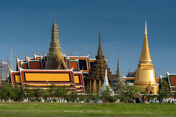 Wat Phra Kaew, Grand Palace view from Sanam Luang
