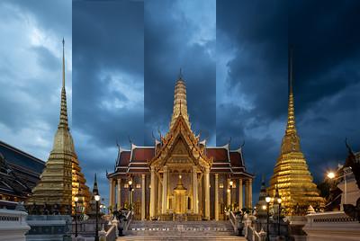 Prasat Phra Dhepbidorn (The Royal Pantheon) and Golden Pagoda, Wat Phra Sri Rattana Satsadaram (Wat Phra Kaew), Grand Palace