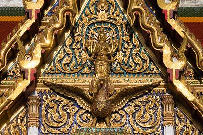Phra Phrom (Brahma) on a Swan, Phra Ubosot, Wat Ratchaburana Ratchaworawihan (Wat Liap)