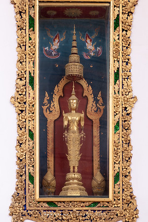 Buddha Statue in the dress of the Queen of King Rama IV, Phra Vihara, Wat Somanas